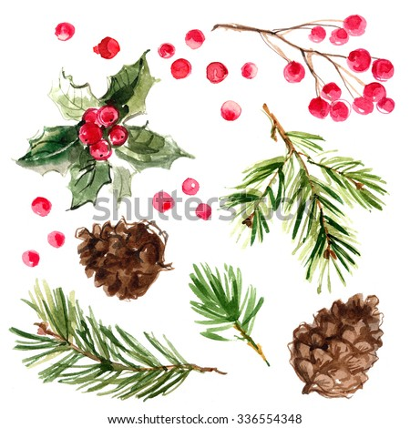 Christmas ornaments from the branches painted with watercolors on white background. Branches of trees. Holly sprigs with red berries. - stock photo