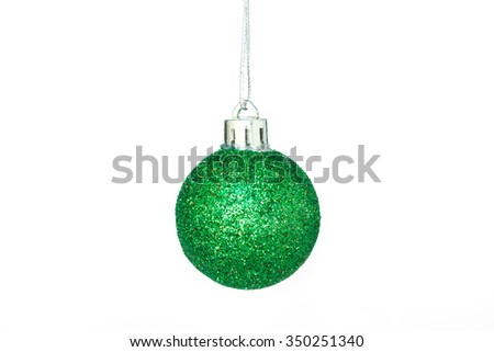 christmas ornaments gold decoration on white background - stock photo