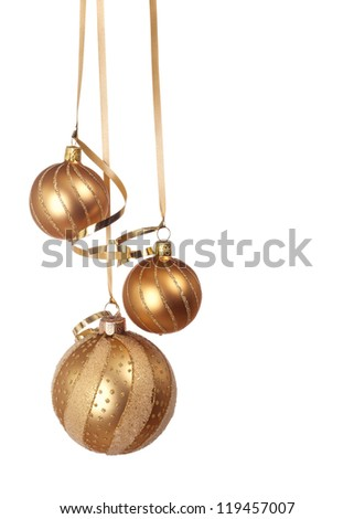 Christmas ornaments hanging isolated on white background