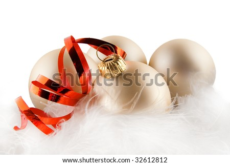 Christmas ornaments in billowy feathers - stock photo