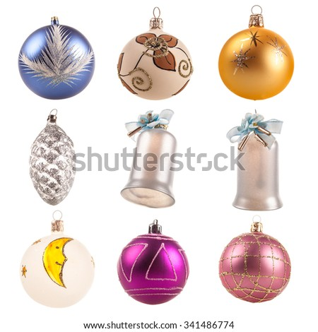 Christmas ornaments isolated decorations - stock photo