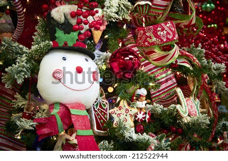 Christmas Ornaments on a Christmas Tree - stock photo