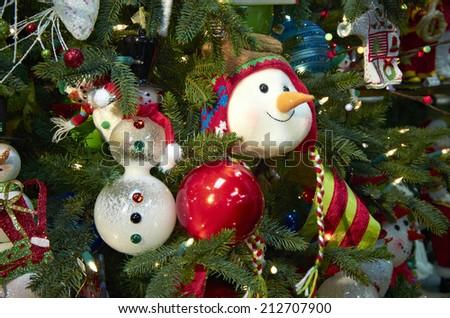 Christmas Ornaments on a Christmas Tree - stock photo
