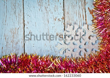 Christmas ornaments on a table top view - stock photo