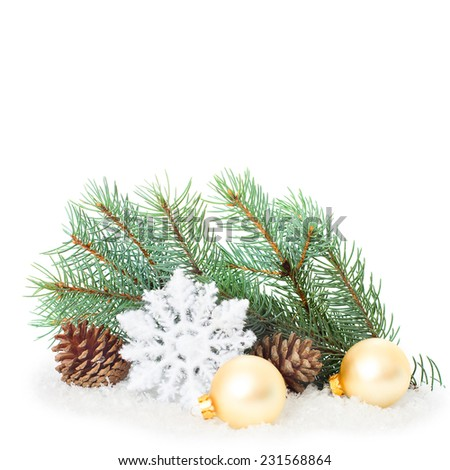 Christmas ornaments on Christmas tree. Christmas border with ornament, present and snow. New Year festive design greeting card isolated on white background - stock photo
