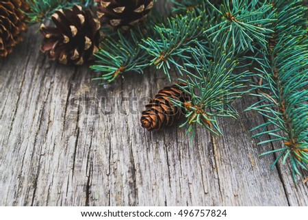 Christmas ornaments on old wooden table