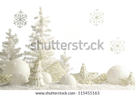 Christmas ornaments on snow.