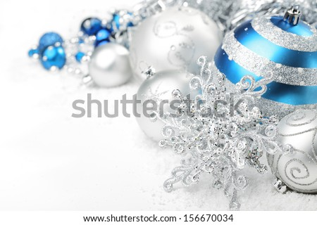 Christmas ornaments on white background - stock photo