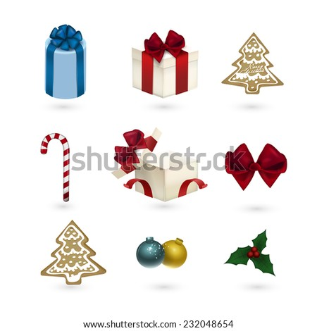 Christmas ornaments set isolated on white background