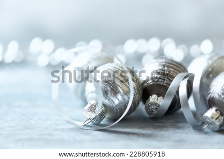 Christmas ornaments with ribbon; close up - stock photo