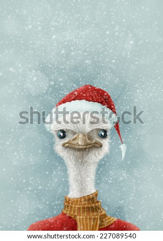 Christmas Ostrich In the Snow / digital illustration - stock photo