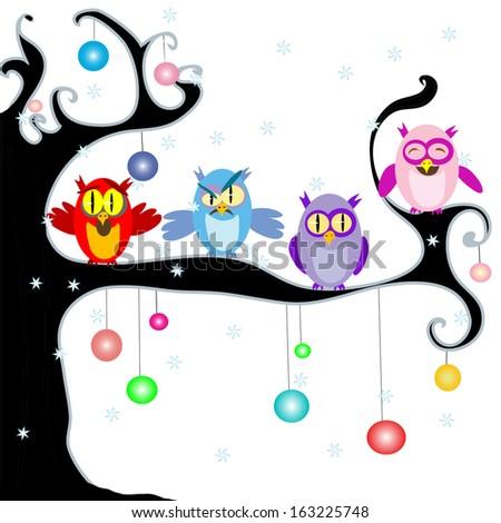 Christmas Owls - stock photo