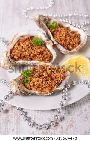 christmas oyster - stock photo