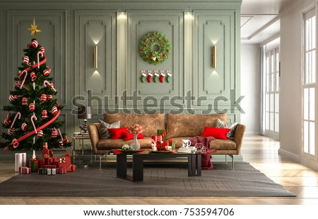 Christmas Party In Living Room Wall Green Decorated With A Tree And Gift Box