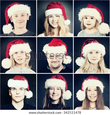 Christmas People. Man, Woman and Children in Santa Hat. Real People Face - stock photo