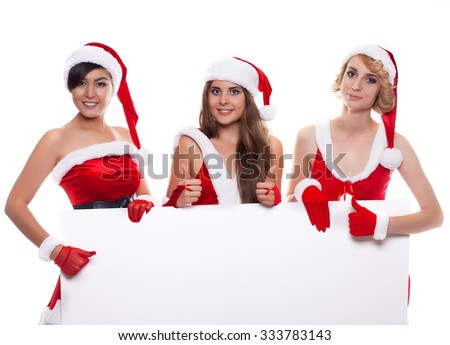 Christmas people three happy women in santa helper hat with blank white board over white background