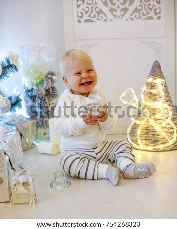 Christmas Photo Cute 1 Year Old Stock Photo Download Now 754268323