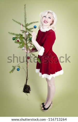 Christmas Pin Up Girl - stock photo