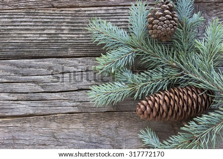 Christmas pine cones and needles on wooden background