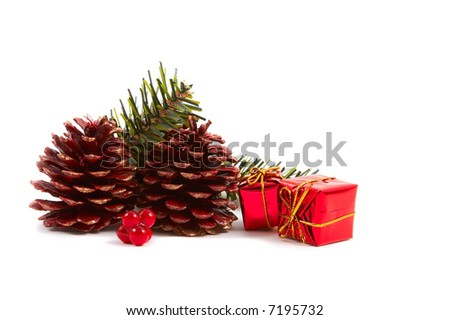Christmas pine cones, pine leaves, presents isolated on white background. Horizontal, landscape orientation. - stock photo