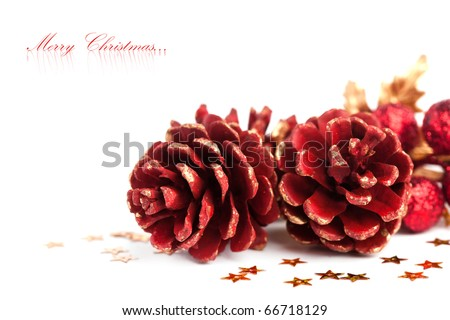 Christmas pinecone with european holly - stock photo