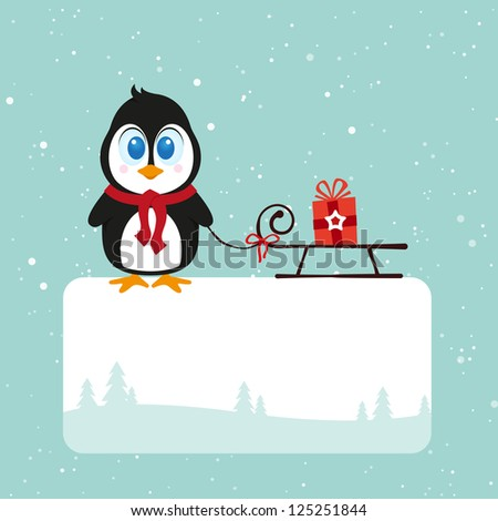 Christmas pinguin - stock photo