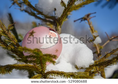 Christmas pink bauble with the santa clause design