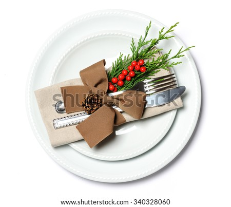 christmas place setting - stock photo