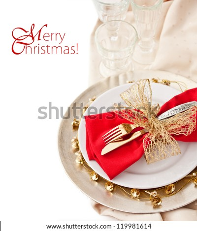 Christmas Place Setting  with Bells - stock photo