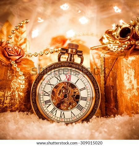 Christmas pocket watch still life. - stock photo