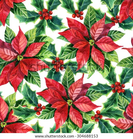 christmas poinsettia seamless pattern watercolor flower - Christmas Poinsettia