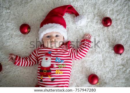 Christmas Portrait Cute Little Newborn Baby Stock Photo Edit Now