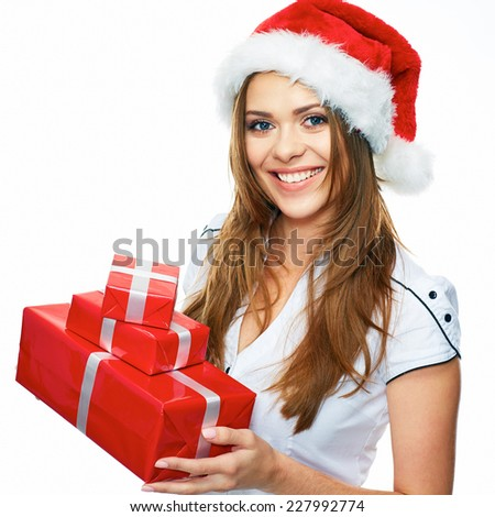 Christmas portrait of Santa Girl holding gifts. Smiling woman. Long hair. White background. - stock photo