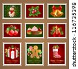 Christmas postage set. Check my portfolio for vector version. - stock vector