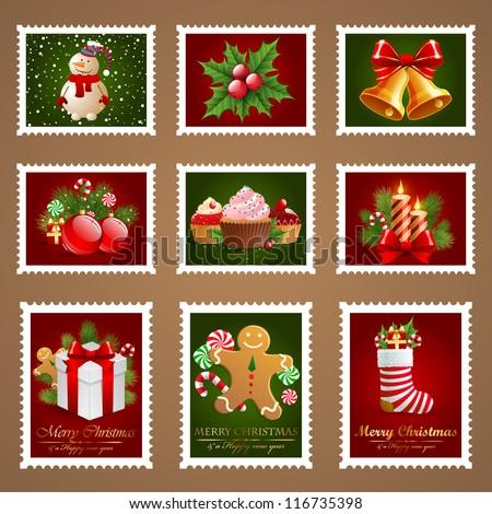 Christmas postage set. Check my portfolio for vector version. - stock photo