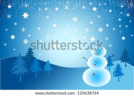 christmas postcard with a snowman - stock photo