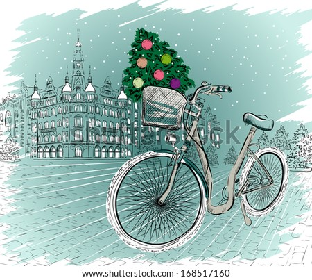 Christmas postcard with bicycle and Christmas tree. Raster version of vector illustration  - stock photo