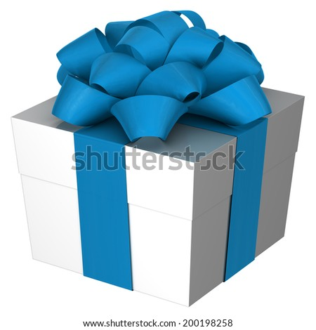 Christmas Present box with Bow - stock photo