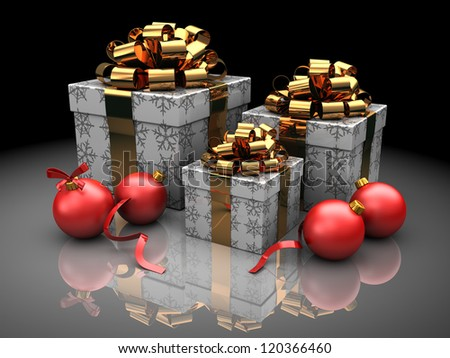 christmas present boxes over dark background, with xmas balls - stock photo