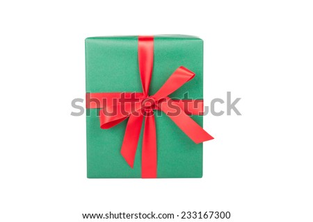 christmas present with bow on white background - stock photo