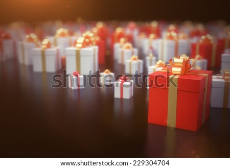 Christmas presents background - high quality 3D render - stock photo
