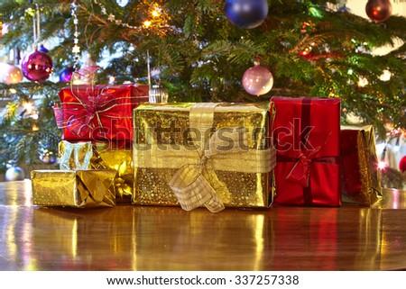 Christmas presents, Christmas tree - stock photo