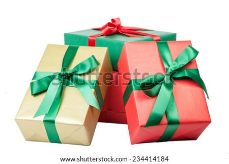 christmas presents in different colors isolated - stock photo