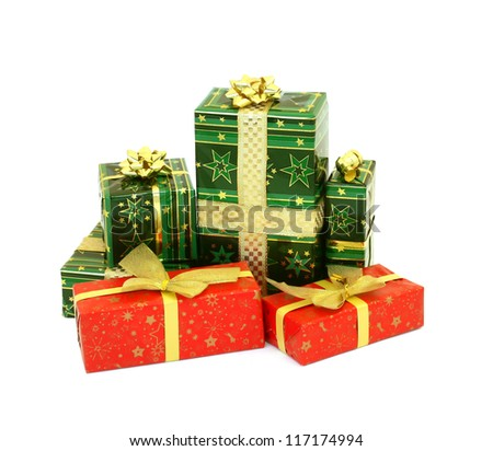 Christmas presents isolated on white background - stock photo