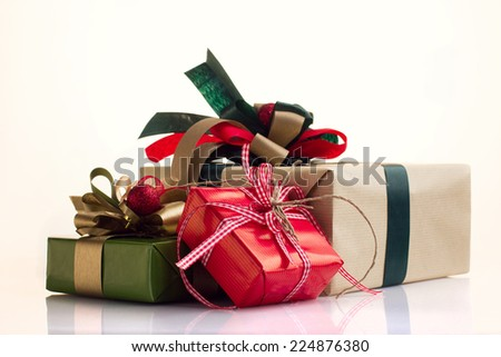 Christmas Presents isolated on white background - stock photo