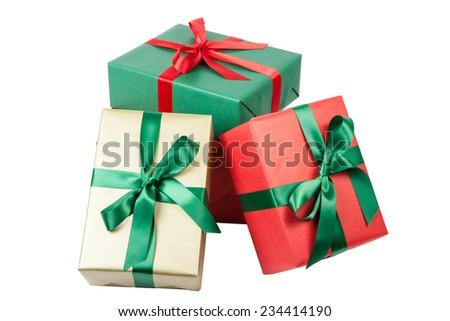 christmas presents on white - stock photo