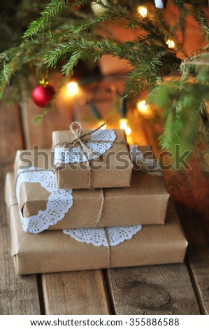 Christmas presents under the Christmas tree - stock photo