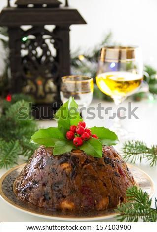 christmas pudding - stock photo