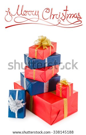 Christmas red and blue gift boxes with Merry Christmas  inscription isolated on white background - stock photo