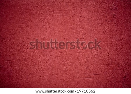 Christmas red background, horizontal. Red plaster wall. - stock photo